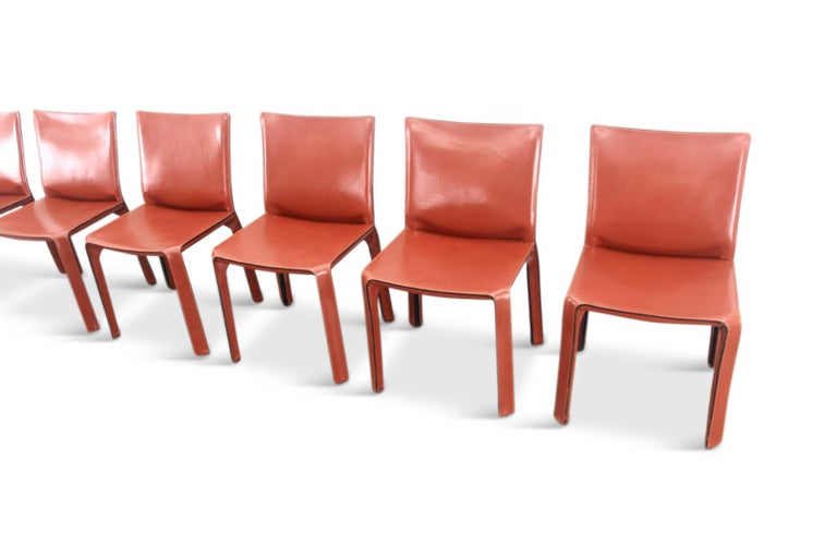 Italian Mario Bellini Cab Chairs in Oxblood Red Leather for Cassina, 1977 For Sale