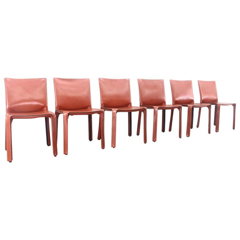 Mario Bellini Cab Chairs in Oxblood Red Leather for Cassina, 1977 For Sale