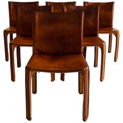 Mario Bellini CAB Chairs Set of Six by Cassina, Patinated Cognac Leather, 1970s