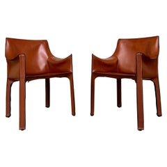 "Mario Bellini ""CAB"" Leather Armchairs for Cassina, 1977, Set of 2"