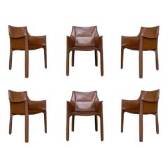"Mario Bellini ""CAB"" Leather Armchairs for Cassina, 1977, Set of 6"