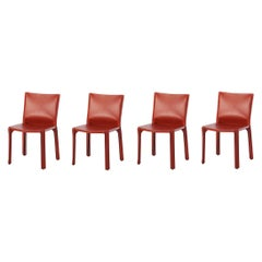 "Mario Bellini ""CAB"" Leather Chairs for Cassina, 1977, Set of 4"