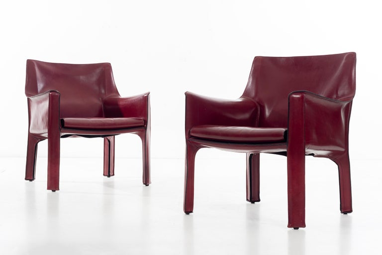 Mid-Century Modern Mario Bellini Cab Lounge Chairs For Sale