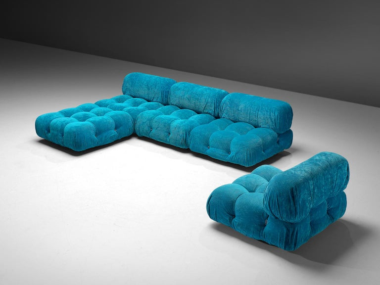 Mario Bellini, modular 'Cameleonda' sofa in light blue corduroy, Italy 1972.  The sectional elements of this sofa can be used freely and apart from one another. The upholstery on this piece features an orange original velvet. The backs and armrests
