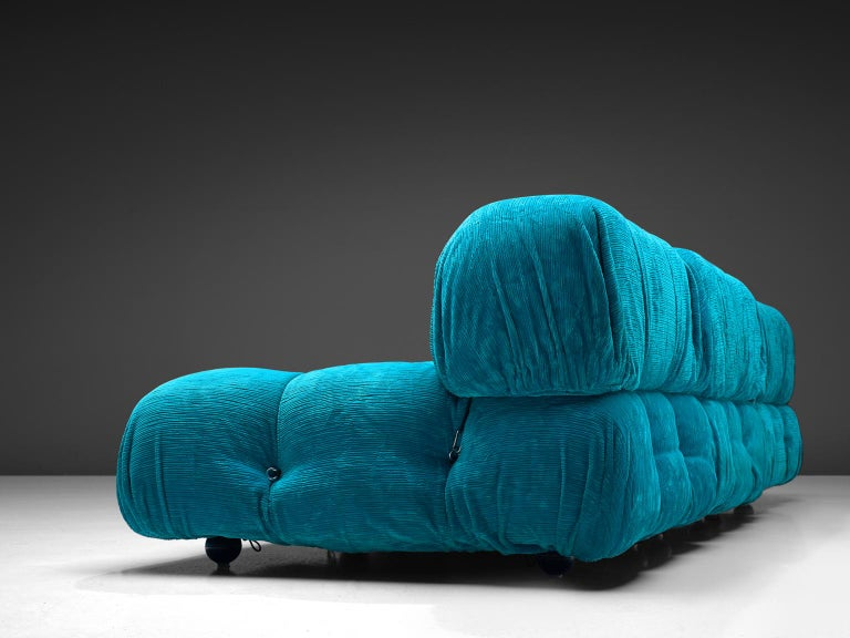 Late 20th Century Mario Bellini 'Camaleonda' in Bright Blue Original Corduroy For Sale