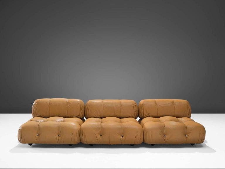 Italian Mario Bellini 'Camaleonda' Modular Sofa in Original Cognac Leather