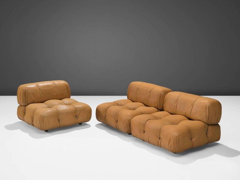 Mario Bellini 'Camaleonda' Modular Sofa in Original Cognac Leather In Good Condition In Waalwijk, NL