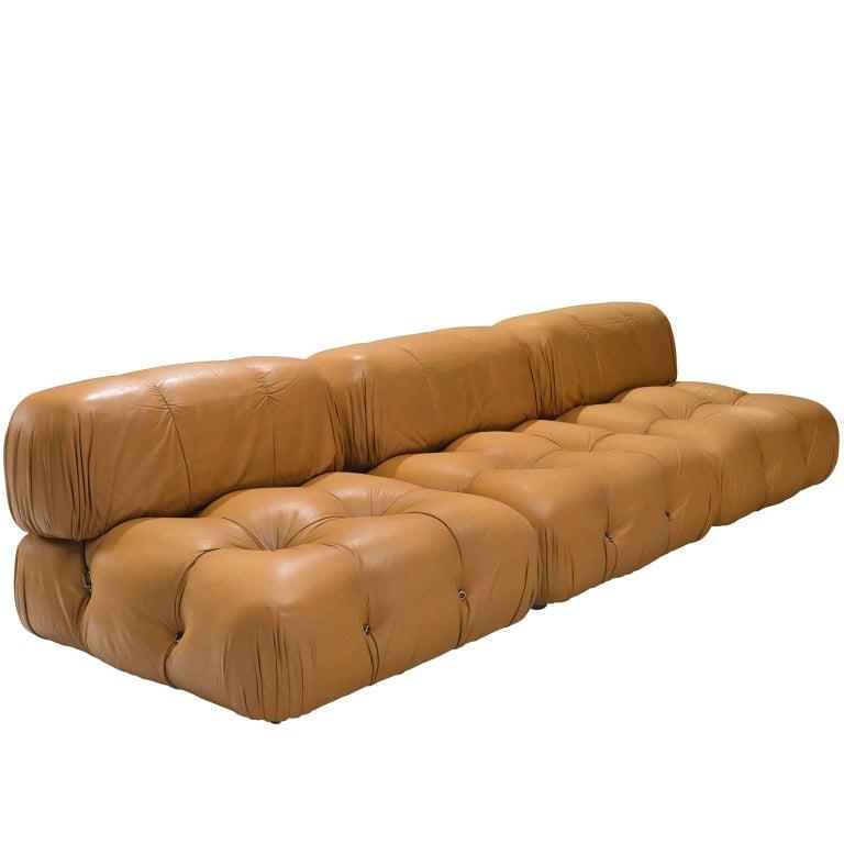 Mario Bellini 'Camaleonda' Modular Sofa in Original Cognac Leather