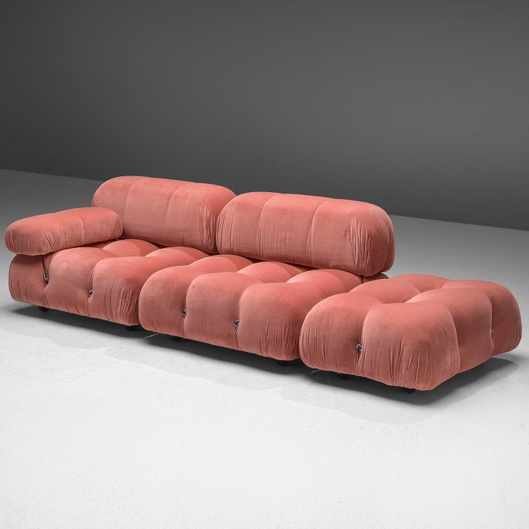 Mario Bellini, modular 'Cameleonda' sofa in pink fabric, Italy, 1972.  The sectional elements of this sofa can be used freely and apart from one another. The upholstery on this piece features newly upholstered pink velvet. The backs are provided