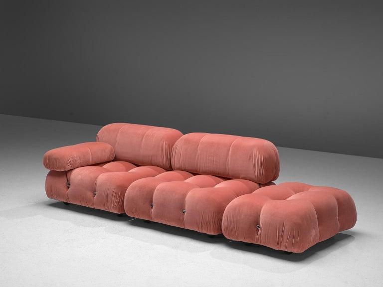 Mid-Century Modern Mario Bellini Camaleonda Modular Sofa in Rose Fabric For Sale