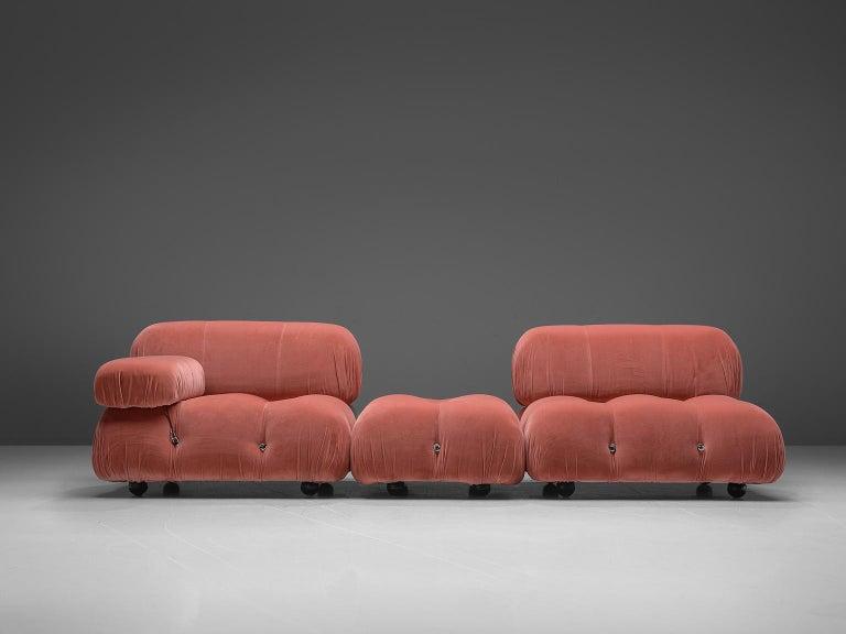 Late 20th Century Mario Bellini Camaleonda Modular Sofa in Rose Fabric For Sale
