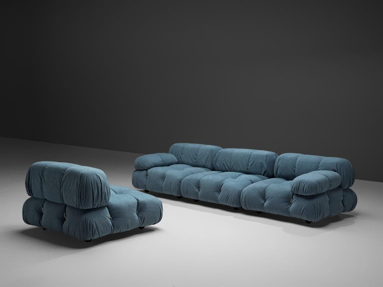 Mario Bellini, modular 'Cameleonda' sofa in in light blue, Italy, 1972.  The sectional elements of this sofa can be used freely and apart from one another. The upholstery on this piece features an blue original velvet. The backs are provided with