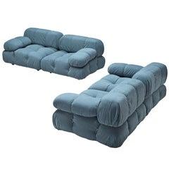 Mario Bellini Camaleonda Modular Sofa in Sky Blue Velvet