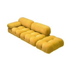 Mario Bellini Camaleonda Modular Sofa Reupholstered in Canary Yellow Velvet