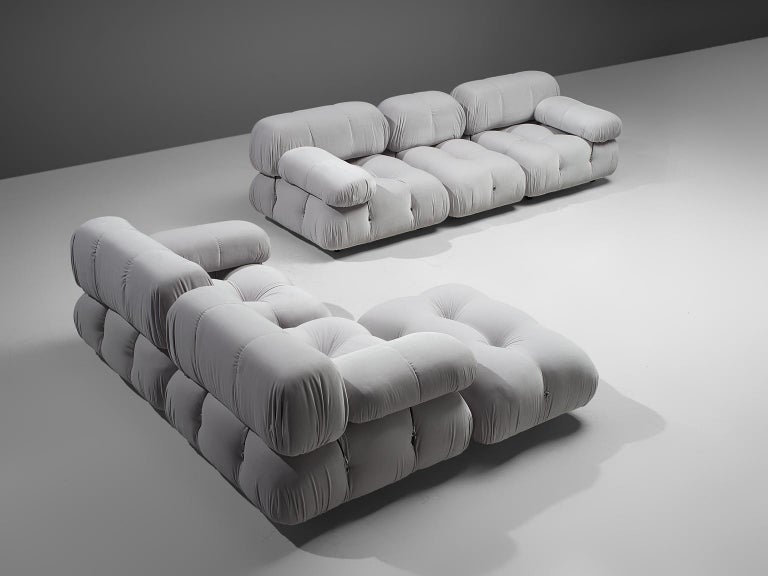 Mario Bellini, modular 'Cameleonda' sofa in light grey velvet, Italy, 1972.  The sectional elements of this sofa can be used freely and apart from one another. The upholstery on this piece features a high quality light grey velvet by Dedar Milano.