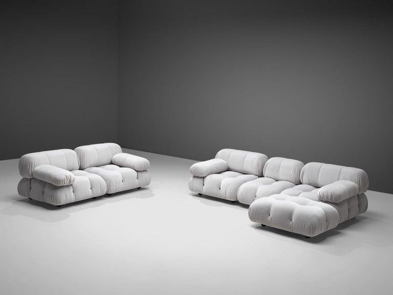 Mid-Century Modern Mario Bellini Camaleonda Modular Sofa Reupholstered in Ice Grey Velvet For Sale