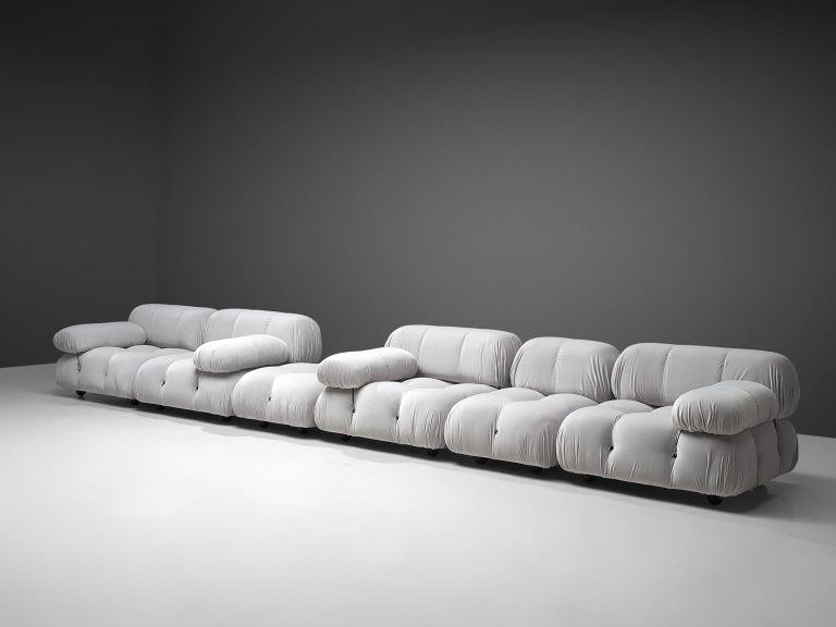 Italian Mario Bellini Camaleonda Modular Sofa Reupholstered in Ice Grey Velvet For Sale