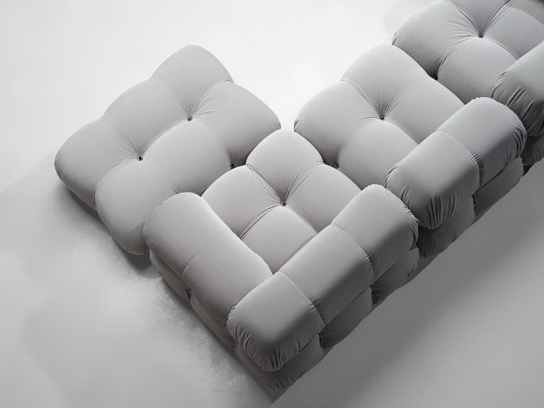 Late 20th Century Mario Bellini Camaleonda Modular Sofa Reupholstered in Ice Grey Velvet For Sale