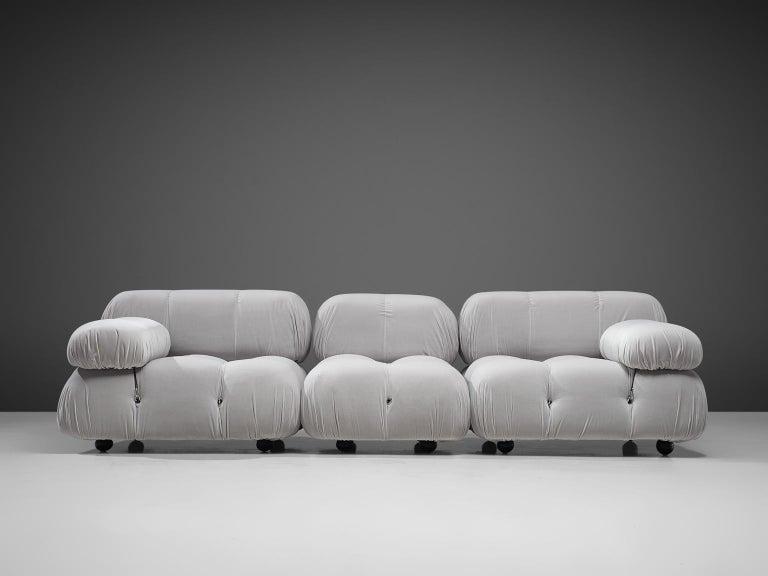 Fabric Mario Bellini Camaleonda Modular Sofa Reupholstered in Ice Grey Velvet For Sale