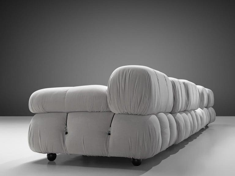 Mario Bellini Camaleonda Modular Sofa Reupholstered in Ice Grey Velvet For Sale 1