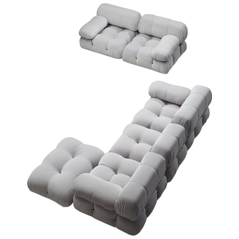 Mario Bellini Camaleonda Modular Sofa Reupholstered in Ice Grey Velvet For Sale