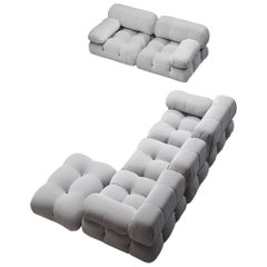 Mario Bellini Camaleonda Modular Sofa Reupholstered in Ice Grey Velvet