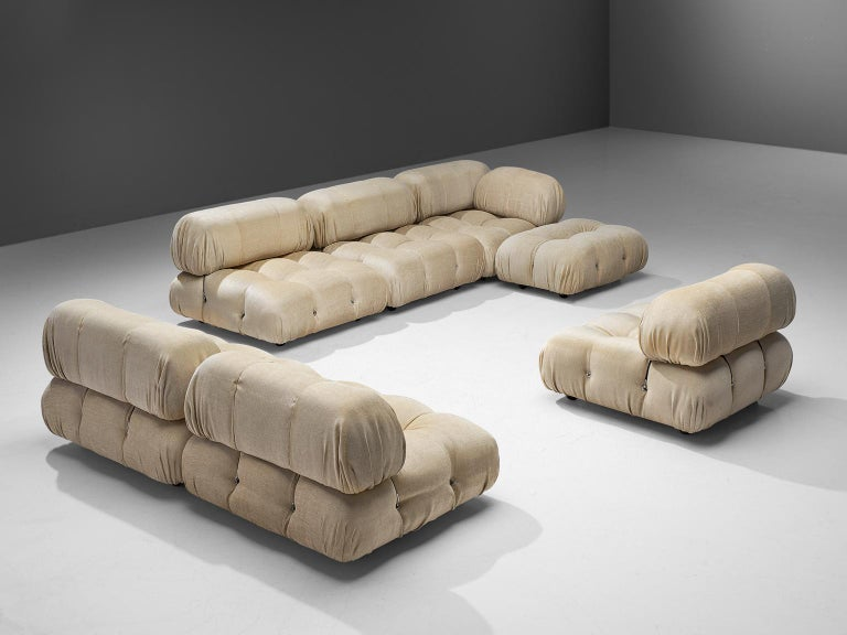 Mario Bellini, 'Camaleonda' sofa, in ivory white upholstery, Italy, 1972.  This sofa is made on request in our upholstery atelier and consists of six large and one small element. With that come six large and small arm or back rest. The sectional