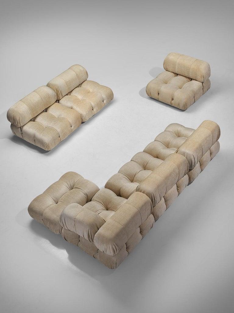 Italian Mario Bellini 'Camaleonda' Modular Sofa Reupholstered in Ivory White Fabric For Sale