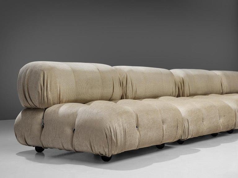 Late 20th Century Mario Bellini 'Camaleonda' Modular Sofa Reupholstered in Ivory White Fabric For Sale