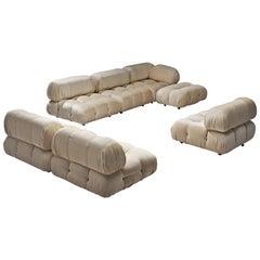 Mario Bellini 'Camaleonda' Modular Sofa Reupholstered in Ivory White Fabric