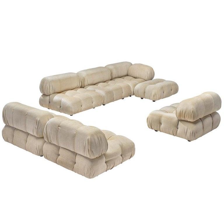 Mario Bellini 'Camaleonda' Modular Sofa Reupholstered in Ivory White Fabric For Sale