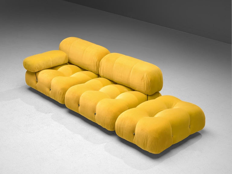 Mario Bellini, modular 'Cameleonda' sofa in yellow velvet, Italy, 1972.  The sectional elements of this sofa can be used freely and apart from one another. The upholstery on this piece features yellow velvet. The backs are provided with rings and
