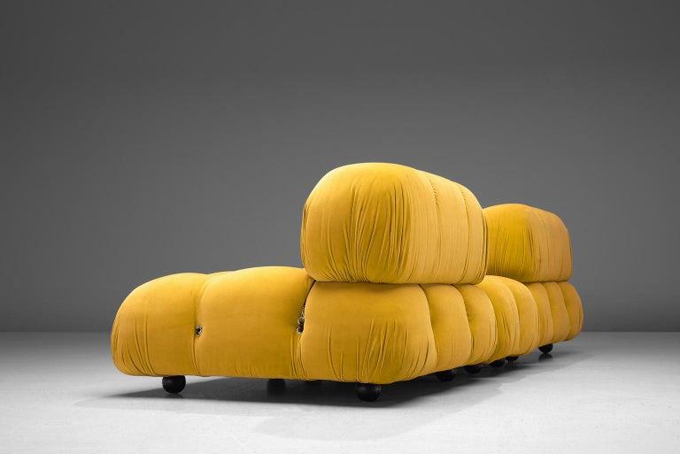 Italian Mario Bellini Camaleonda Modular Sofa Reupholstered in Sunflower Yellow Velvet For Sale