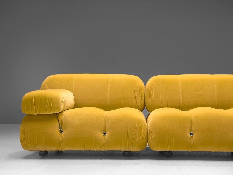Late 20th Century Mario Bellini Camaleonda Modular Sofa Reupholstered in Sunflower Yellow Velvet For Sale