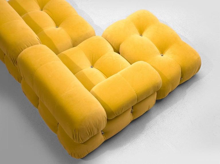 Fabric Mario Bellini Camaleonda Modular Sofa Reupholstered in Sunflower Yellow Velvet For Sale