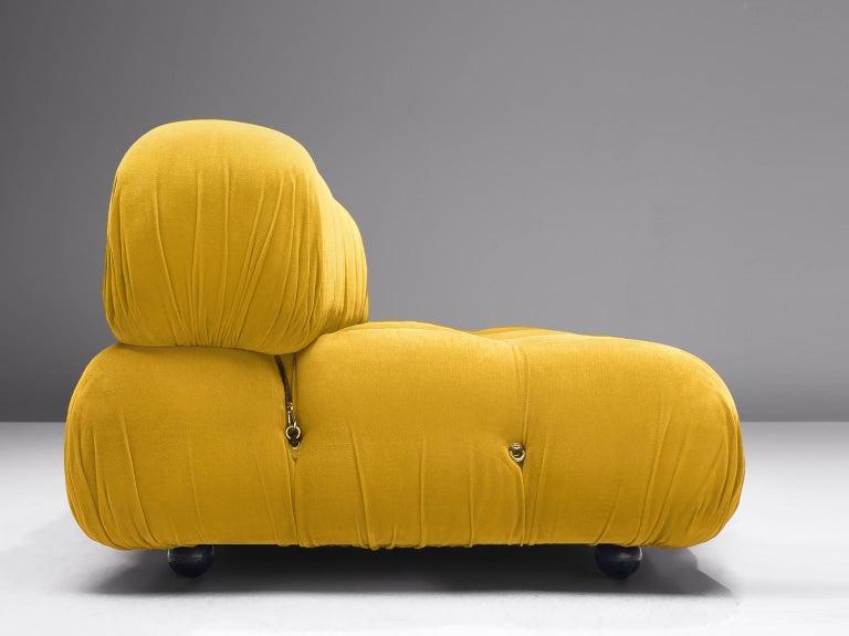 Mario Bellini Camaleonda Modular Sofa Reupholstered in Sunflower Yellow Velvet For Sale 1