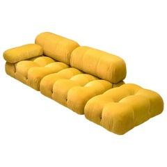 Mario Bellini Camaleonda Modular Sofa Reupholstered in Sunflower Yellow Velvet