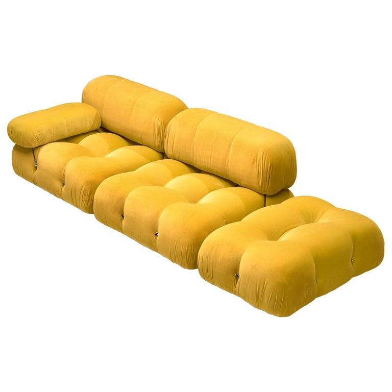 Mario Bellini Camaleonda Modular Sofa Reupholstered in Sunflower Yellow Velvet For Sale