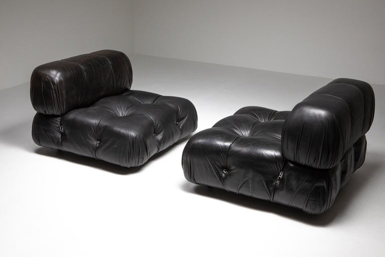 Camaleonda seat, Mario Bellini, C&B Italia, 1970s  Black leather original upholstery  This design became famous almost immediately after it was featured in the exhibition 'Italy and The New Domestic Landscape' in the MoMA Museum in 1972. Mario