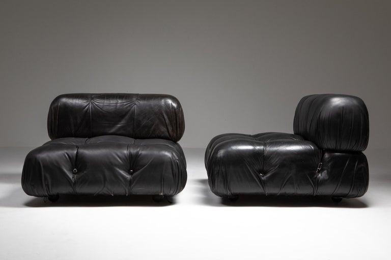 Post-Modern Mario Bellini Camaleonda Original Piece in Black Leather, Three Available For Sale