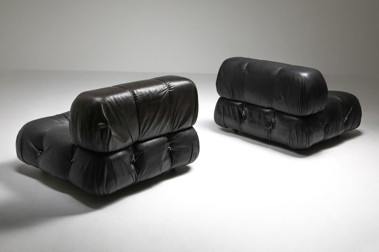 Italian Mario Bellini Camaleonda Original Piece in Black Leather, Three Available For Sale