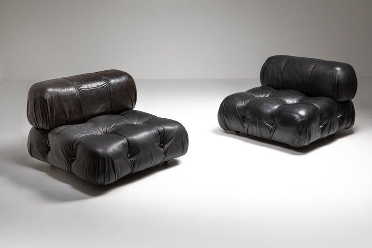 Late 20th Century Mario Bellini Camaleonda Original Piece in Black Leather, Three Available For Sale
