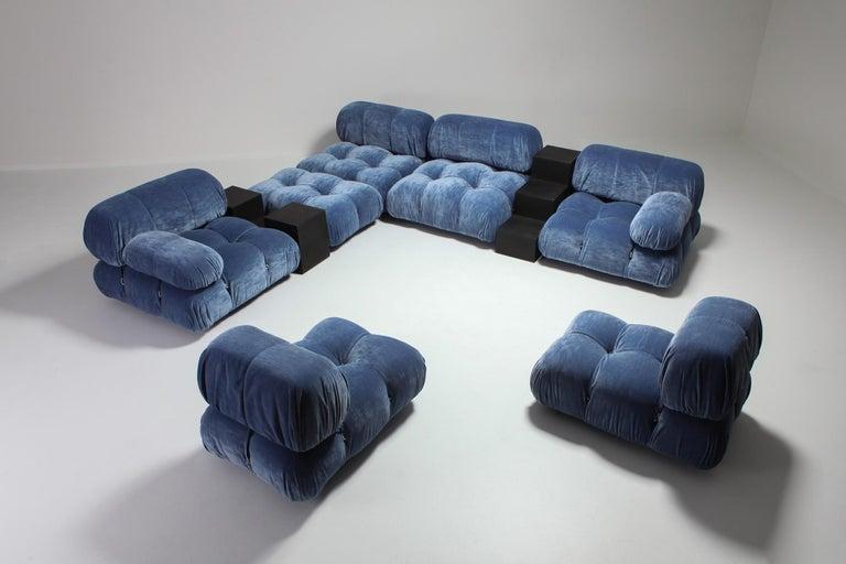 Mario Bellini Camaleonda Sectional Sofa in Blue Velvet For Sale 4