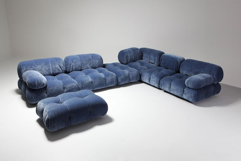 Mario Bellini designed this modular sectional sofa for C&B Italia in the 1970s.  This is a rare edition from before 1973 when C&B Italia became B&B Italia.   The entire sofa consists of 4 big seating elements, 4 big back cushions, 3 medium size