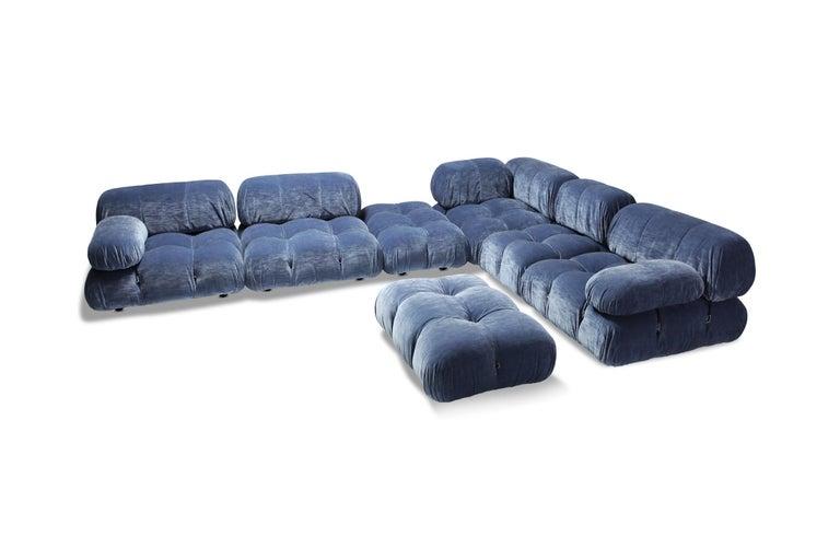 Post-Modern Mario Bellini Camaleonda Sectional Sofa in Blue Velvet For Sale