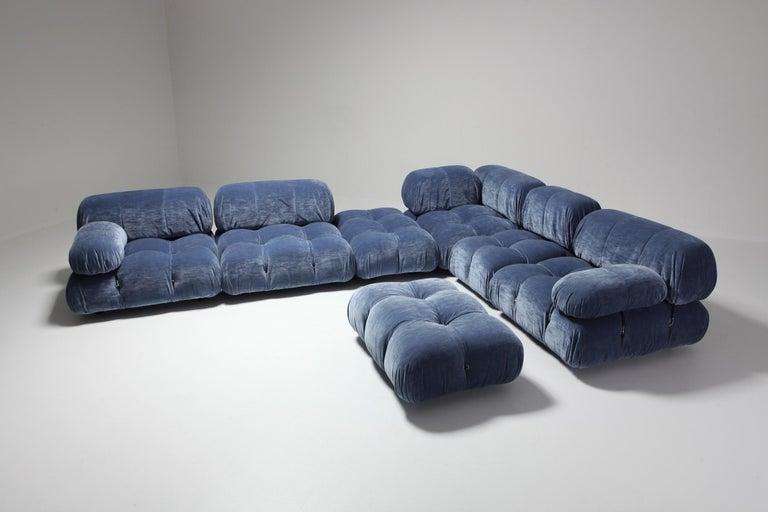 European Mario Bellini Camaleonda Sectional Sofa in Blue Velvet For Sale