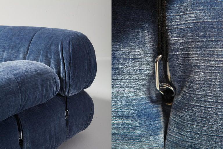 Mario Bellini Camaleonda Sectional Sofa in Blue Velvet For Sale 1