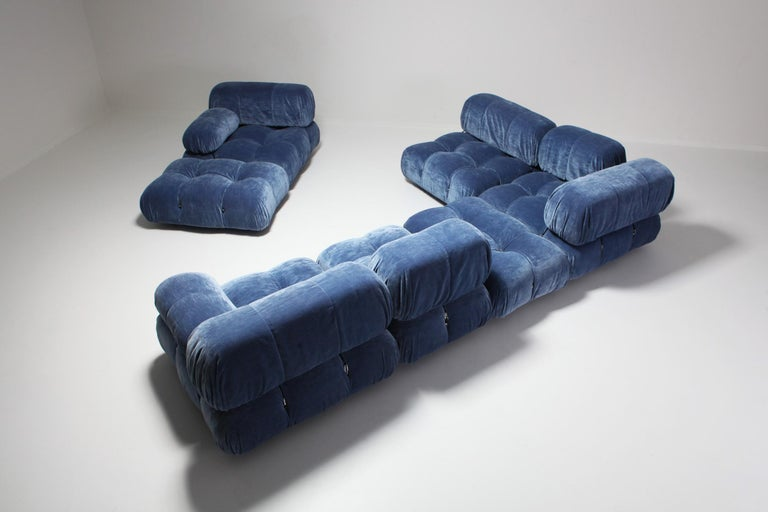 Mario Bellini Camaleonda Sectional Sofa in Blue Velvet For Sale 2