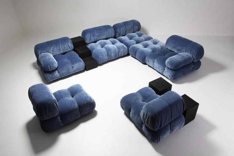 Mario Bellini Camaleonda Sectional Sofa in Blue Velvet For Sale 3