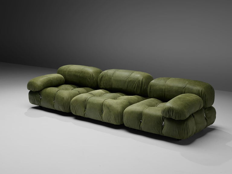 Mario Bellini, 'Camaleonda' sofa, green leather upholstery, Italy, 1972  Mario Bellini designed the 'Camaleonda' sectional sofa, here with eight elements of which six feature a backrest, in 1972.The sectional elements of this sofa can be used